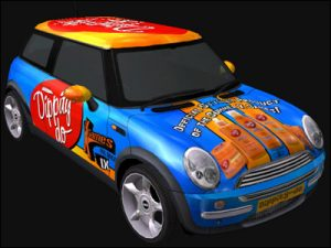 3D wrap mockup and design for promotional vehicle at X-Games. 2003
