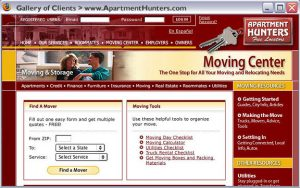 Apartment Hunters Website - Redesign and optimization. 2004-2005