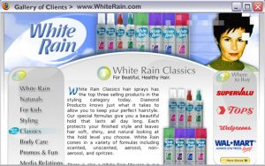 White Rain Hair Products - Complete web site design and development. Plus some print work. 2003-2005