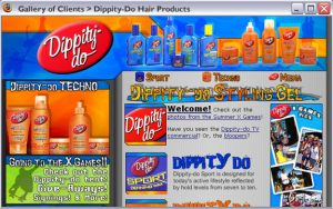 Dippity-Do Hair gel website for partnership with X-Games. Complete design and development along with some marketing material and print work. 2004