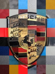 Porsche emblem collage. My son photographed dozens of hood emblems while at a car show. I put them into a collage for poster prints. 2018
